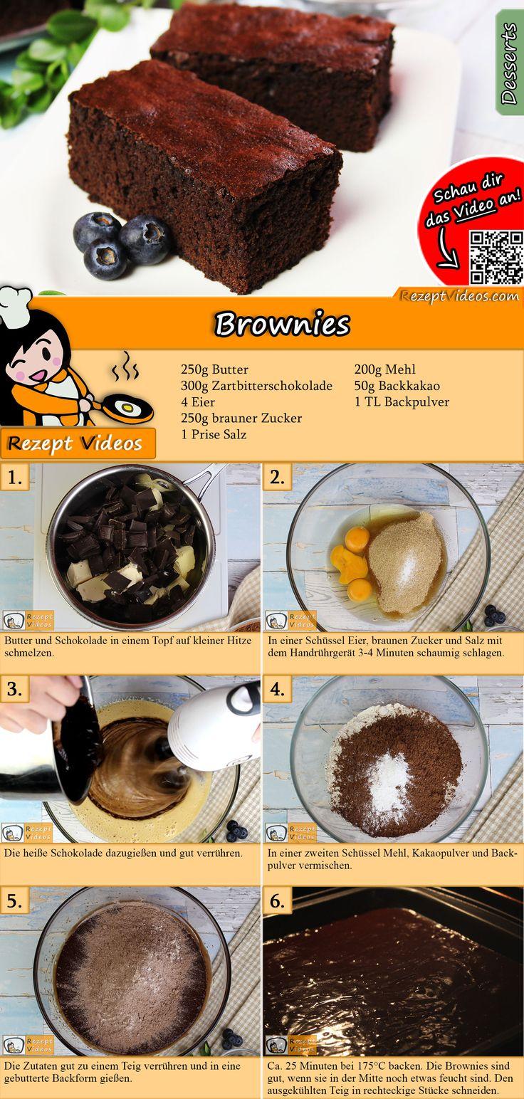 Brownies Rezept mit Video   – DESSERT Rezepte mit Videos, mit Rezeptkarten