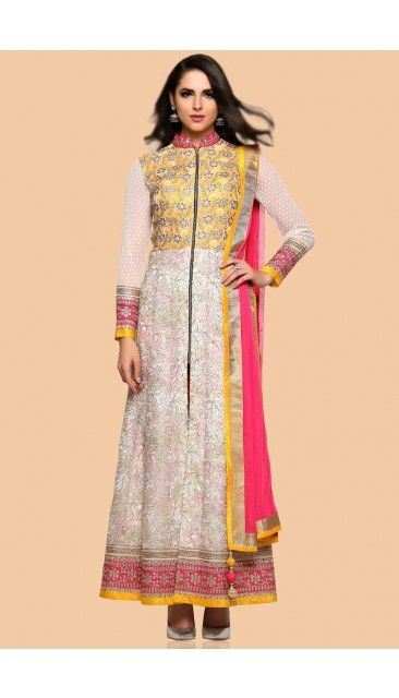 Off White Net Anarkali churidar Suit With  Dupatta - 1714