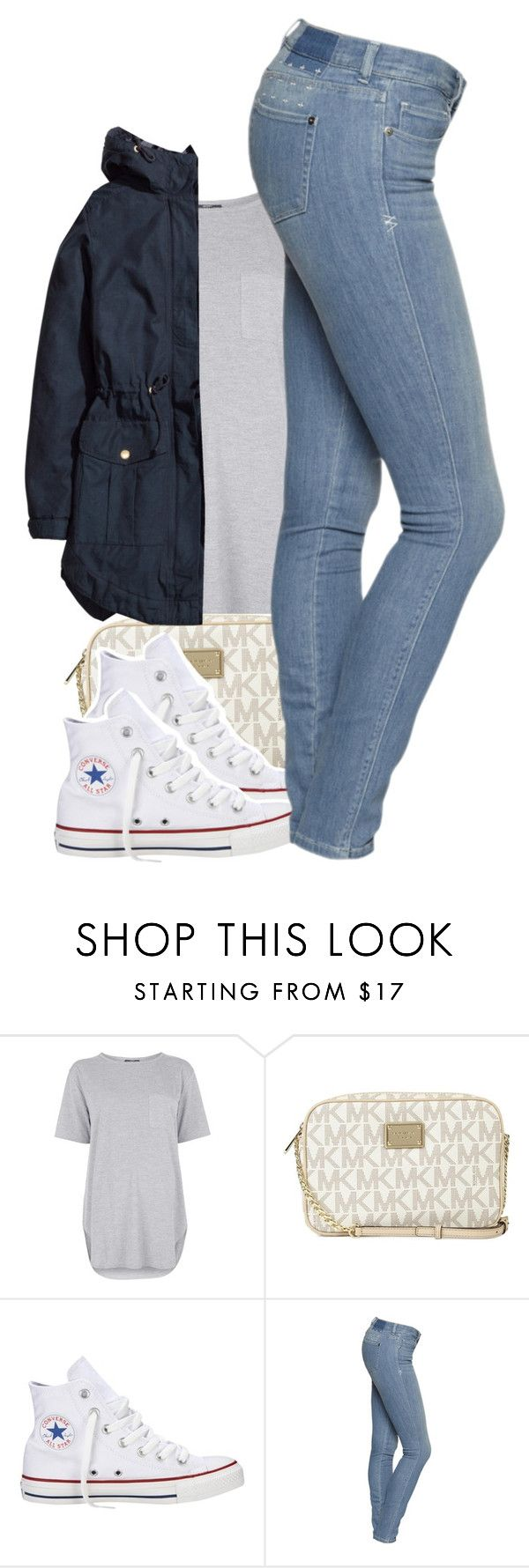 """Untitled #1758"" by toniiiiiiiiiiiiiii ❤ liked on Polyvore featuring Topshop, Michael Kors, Converse and H&M"