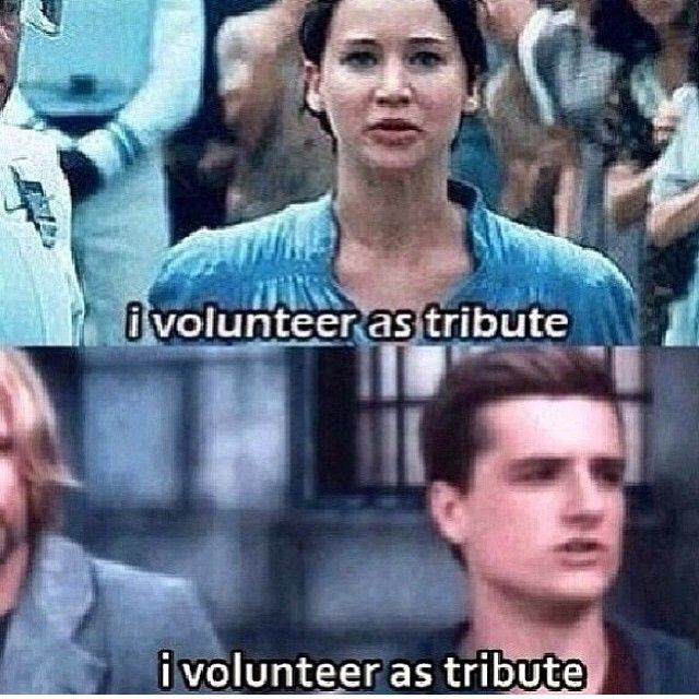 You must really love someone to volunteer as tribute.....and they both did it to protect the person they love.