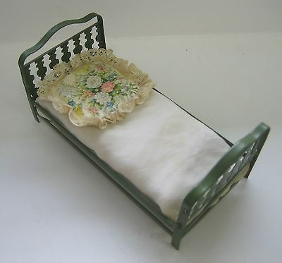 German-tin-green-antique-doll-house-bed