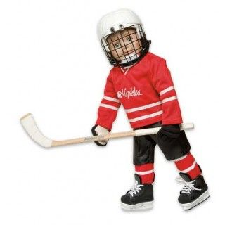 Hockey Gear: She shoots! She scores! We asked you for your ideas for the next Maplelea Girl, and you told us she should play hockey. So, hockey she plays! This set of equipment comes with shoulder pads, elbow pads, neck guard, pants, socks, shin pads, hockey sweater, gloves, stick, incredibly detailed hockey skates and, of course, a gear bag to hold it all in!