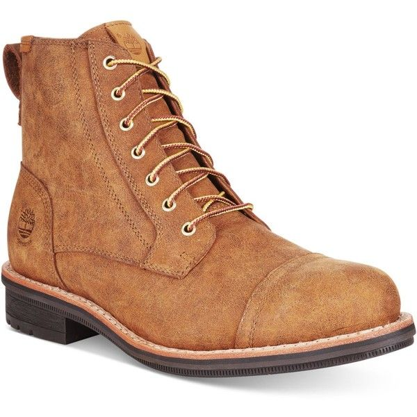 """Timberland Men's Willoughby 6"""" Waterproof Cap-Toe Boots ($190) ❤ liked on Polyvore featuring men's fashion, men's shoes, men's boots, wheat, mens pointy boots, mens waterproof boots, mens pointed shoes, timberland mens boots and timberland mens shoes"""