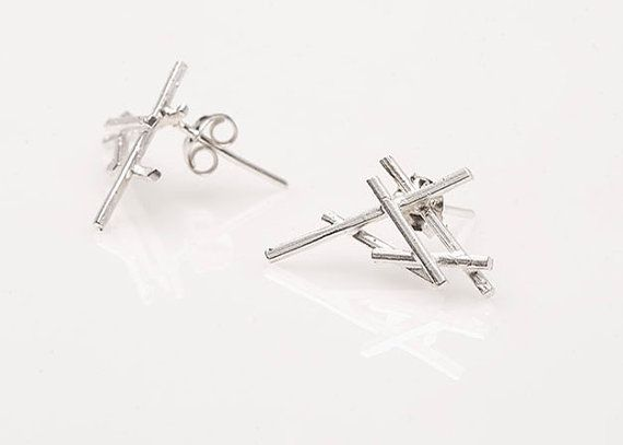 Mini Slashpile Stud Earrings by SlashpileDesigns on Etsy, $47.00  These earrings are our mini slashpiles! They are made from sterling silver 1mm square wire and they are soldered to sterling silver posts.