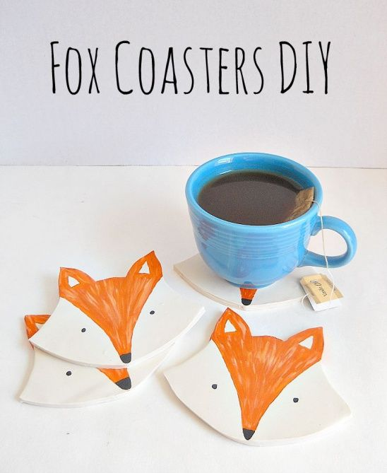 Diy Clay Fox Coasters By Running With A Glue Gun Project Home Decor