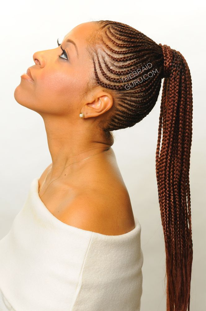 Feed In Cornrows in a ponytail. Braids by Thebraidguru.com