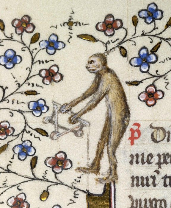 "Leaf from a Breviary - Hidden within a jungle of flowering vines, an ape attempts to unlock the secret to a three-dimensional puzzle. Medieval artists were fond of depicting animals, in particular apes and monkeys, engaged in human activities. In medieval Europe, the term ""aping"" was used to describe the mimicking of human nature, so showing apes acting like people was a play on this idea. (The Walters): Art Museum"