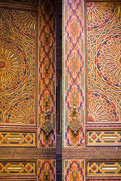 Door of Karaouine mosque - Fez, Morocco.