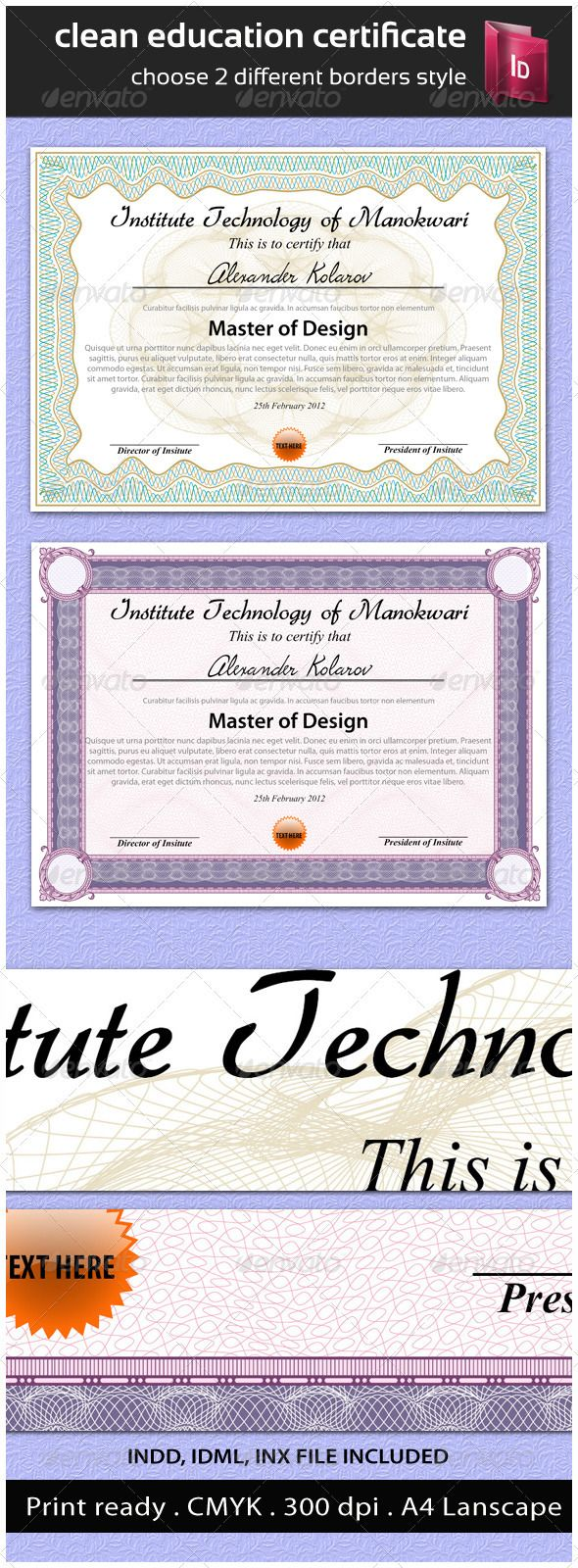 156 best certificate template design images on pinterest clean education certificate indesign templatesprint yadclub Images