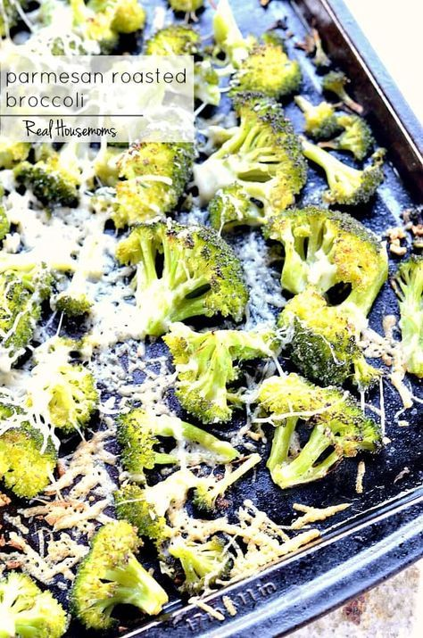 Parmesan Roasted Broccoli. PARMESAN ROASTED BROCCOLI is so easy to make and really tasty. It comes together in no time, making it perfect for weeknight meals! #Real Housemoms #Parmesanroastedbroccoli #Sidedish #Busynightsidedish