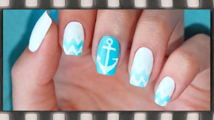 Дизайн ногтей в морском стиле с волнами и якорем. Маникюр градиент | Sea...