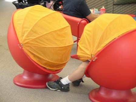 Egg chairs from Ikea. Kids love 'em at the Library!: