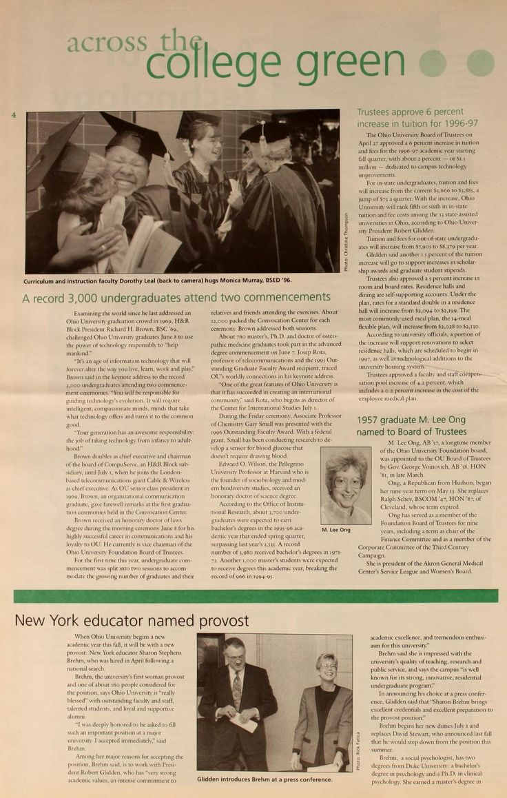 """Ohio University Today, Summer 1996 """"A record 3,000 undergraduates attend two commencements. Examining the world since he last addressed an Ohio University graduation crowd in 1969, H&R Block President Richard H. Brown, BSC '69, challenged Ohio University graduates June 8 to use the power of technology responsibly to 'help mankind.' :: Ohio University Archives"""