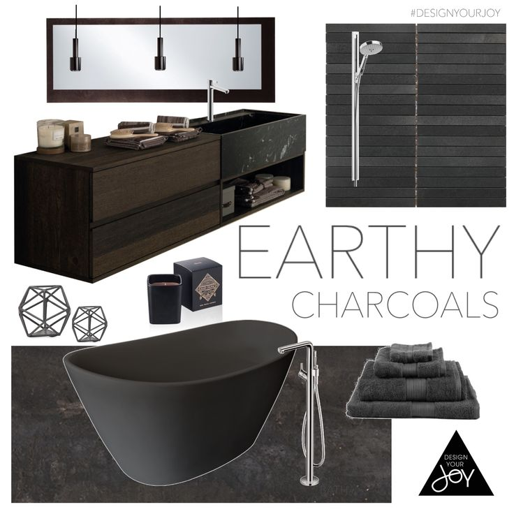 """This deep and earthy bathroom is exactly what my client wanted...he asked for """"masculine and serene"""". His favourite piece? That gorgeous tub!! #designyourjoy #masculinebath #earthytones Charcoal is a great bathroom colour!"""