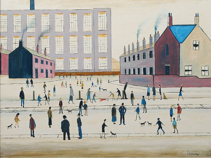 "MANNER OF LAURENCE STEPHEN LOWRY  (English. 1887-1976) ""Factory with Figures"". Signed ""L.S. Lowry"" l/r. Oil on Canvas. Measuring 25 1/4"" by 30"". Framed."
