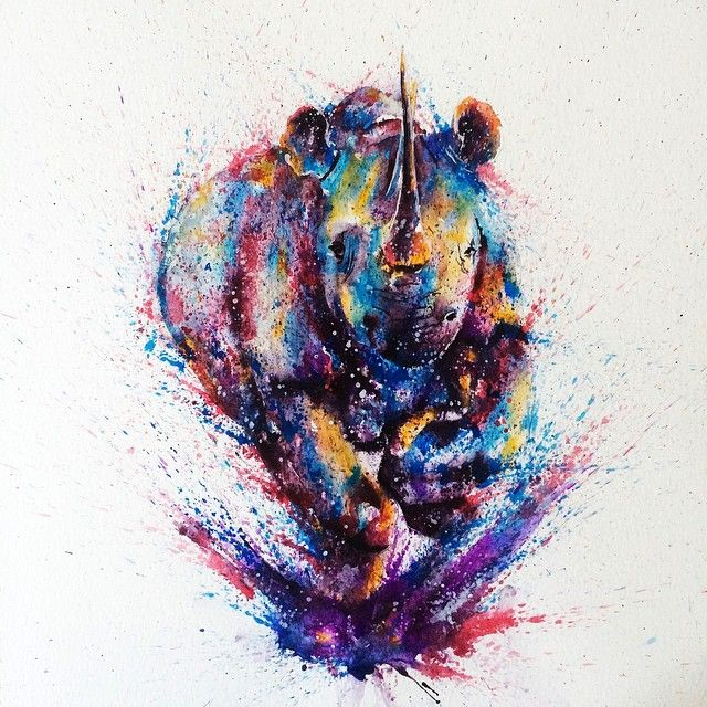 Watercolour rhino charging.