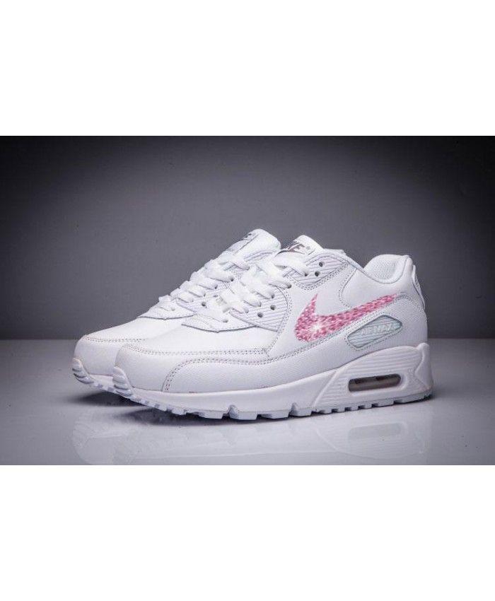 Nike Air Max 90 Leather Swarovski Pink Crystal Rhinestones Trainers Sale UK 9eb08ffe2733