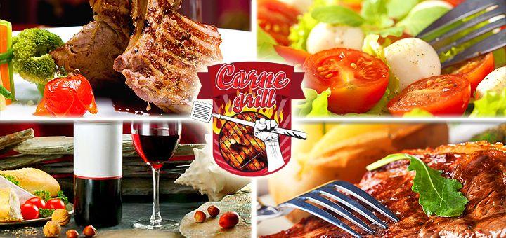 Блюда гриль, салаты, холодные и горячие закуски, а также алкогольная карта в Мясном ресторане Carne Grill! Скидка 50% на меню!