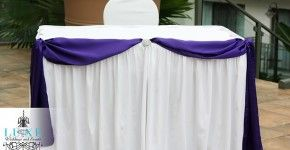 Ceremony wedding decor, purple and white ceremony table decor, ceremony table draping