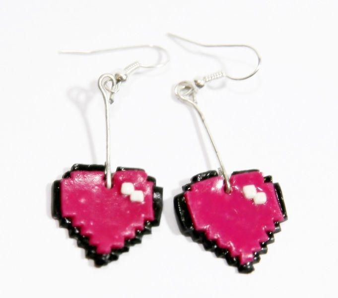 """Earrings,, pixel hearts. """" from Alice's idea...  www.alicesidea.pl #earrings#pixel hearts ."""
