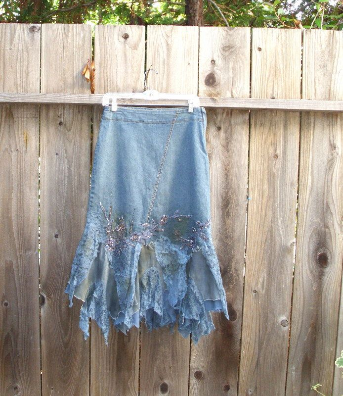 Shabby Chic Denim Lace skirt/ Custom Order by KheGreen on Etsy