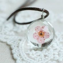 Glass Ball Bottle Dandelion Clover Real Flower Pendant Long Leather Chain…