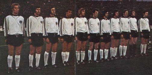 The German team that face Hungary two weeks prior - Uli Hoeness, Paul Breitner, Heinz Flohe, Horst-Dieter Hottges, Gunter Netzer,