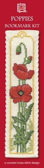 Poppies Bookmark Cross Stitch Kit - Textile Heritage