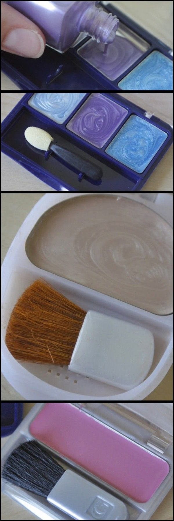 Make pretend makeup for your kids with empty containers and old nail polish you won't use again