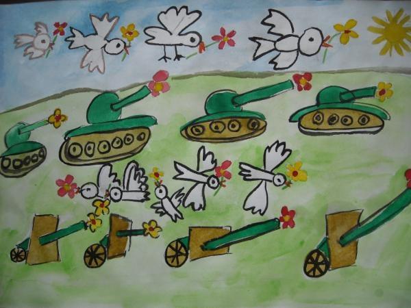 """""""ЧТОБЫ ПУШКИ НЕ СТРЕЛЯЛИ..."""" / """"TO GUNS DO NOT shoot ...""""    Artist:АНАСТАСИЯ А. / ANASTASIA A.  Location:РОССИЯ, КОСТРОМСКАЯ ОБЛАСТЬ , ГОРОД ВОЛГОРЕЧЕНСК / Volgorechensk, Kostroma Region, Russia  Age:5  """""""" А ЧТО, ЕСЛИ ПТИЦЫ -СИМВОЛЫ МИРА, ПОМОГУТ НАМ ПРЕКРАТИТЬ НА ЗЕМЛЕ КРОВОПРОЛИТИЕ!..""""     """"WHAT IF BIRDS-SYMBOLS OF THE WORLD, WE WILL HELP STOP ON EARTH bloodshed! .."""""""""""