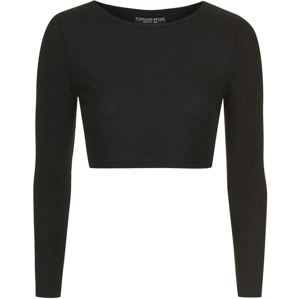 TOPSHOP PETITE Long Sleeve Skinny Ribbed Crop Top ($10) ❤ liked on Polyvore featuring tops, crop tops, topshop, sweaters, black, petite, rayon tops, crop top, cut-out crop tops and petite tops