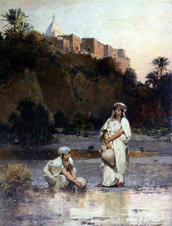Algérie - Peintre Français  Gustave Guillaumet(1840-1887), huile sur panneau de bois , Titre :  Porteuses d'eau