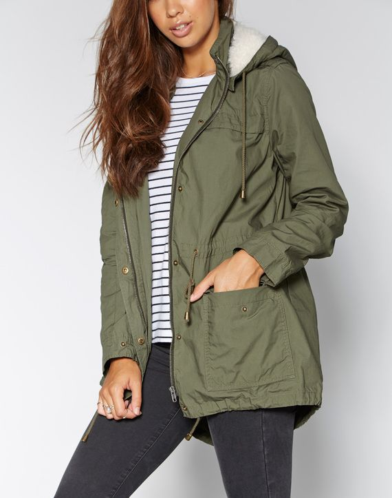 Cotton Drawcord Parka, KHAKI
