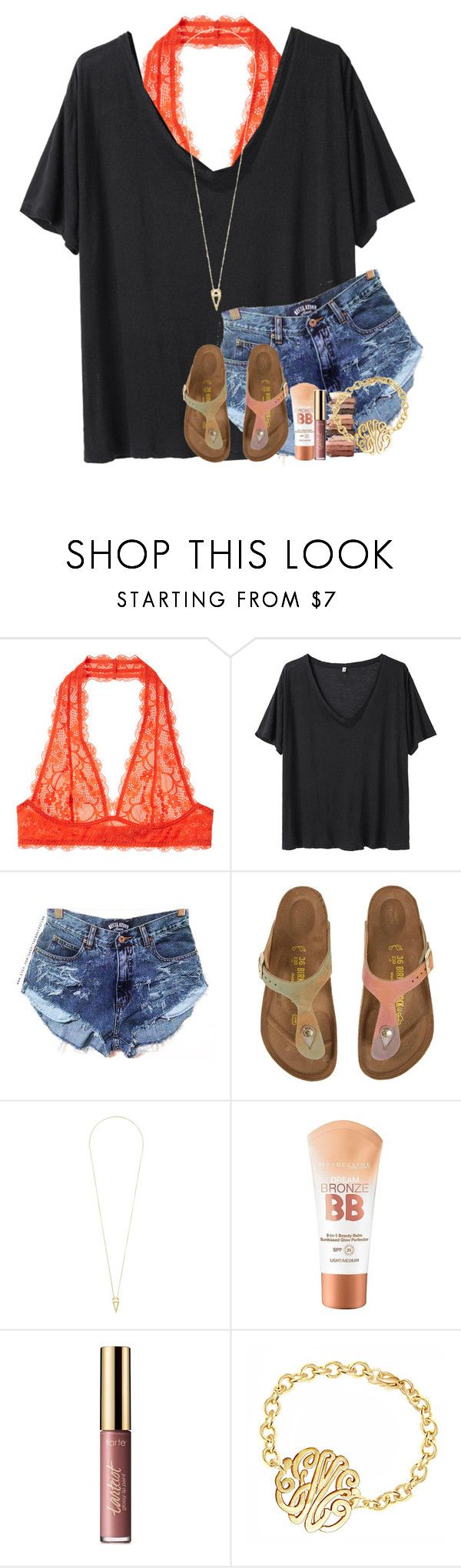 """""""&&; grab my waist and put that body on me"""" by abbypj ❤ liked on Polyvore featuring Intimately Free People, R13, Birkenstock, Noor Fares, Maybelline and tarte"""