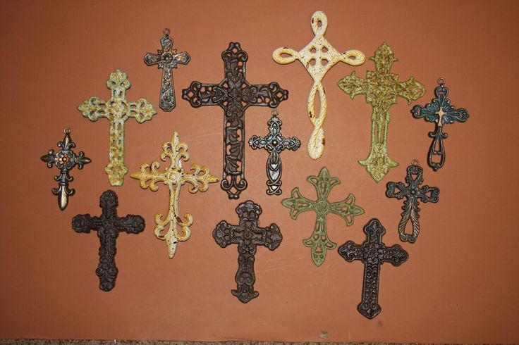 (14)pcs, RUSTIC OLD WORLD STYLE CHRISTIAN CROSS WALL DECOR, CAST IRON CROSSES