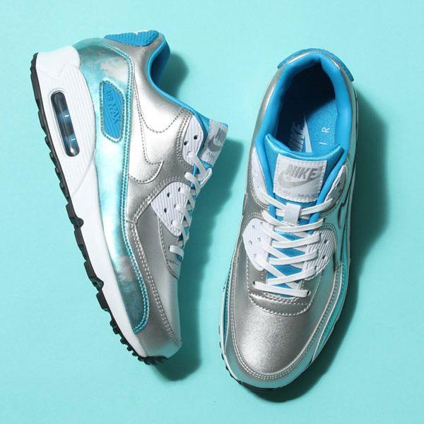 half off 7f7fd a51b7 Nike Womens Air Max 90 PRM QS Silver Blue  Stuff to Buy  Pinterest  Nike,  Air max and Air max 90