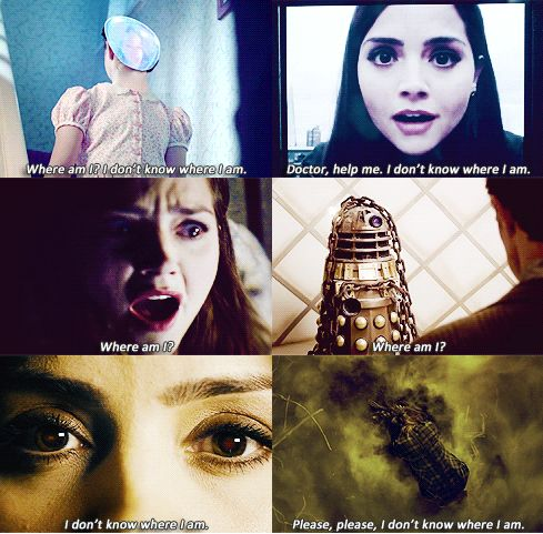 It all makes so much sense...<-- actually, in a way it does-Clara said in Rings of Akhaten she was used to be scared of bein lost, or in a way not knowing where she was. In the end of the Name of the Doctor, she's scared, and I think it's because of her fear of being lost returned...