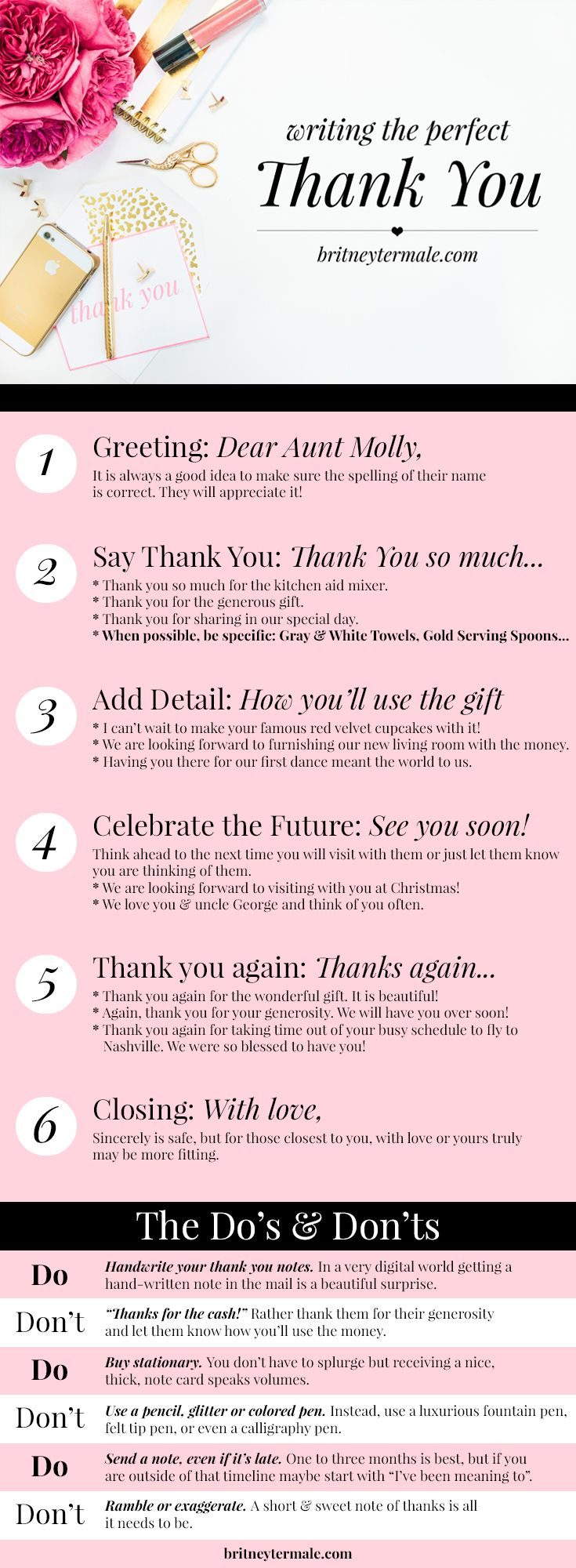 How To Write The Perfect Thank You Note L Britney Termale  How To Make A Thank You Card In Word
