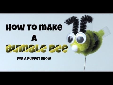HOW TO MAKE A POMPOM BUMBLE BEE FOR A PUPPET SHOW!