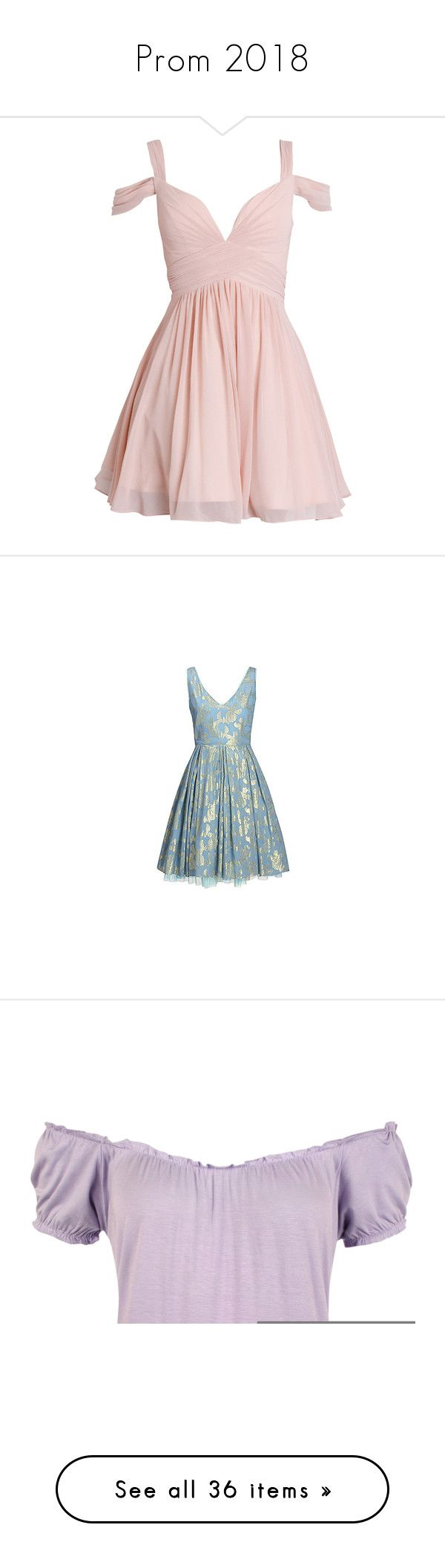 """""""Prom 2018"""" by littlemixer4 ❤ liked on Polyvore featuring dresses, vestidos, short dresses, pink, chiffon prom dresses, short prom dresses, white chiffon dresses, pink chiffon dress, white dresses and blue"""
