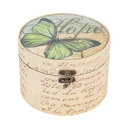 Botanical Butterfly Large Wooden Round Box
