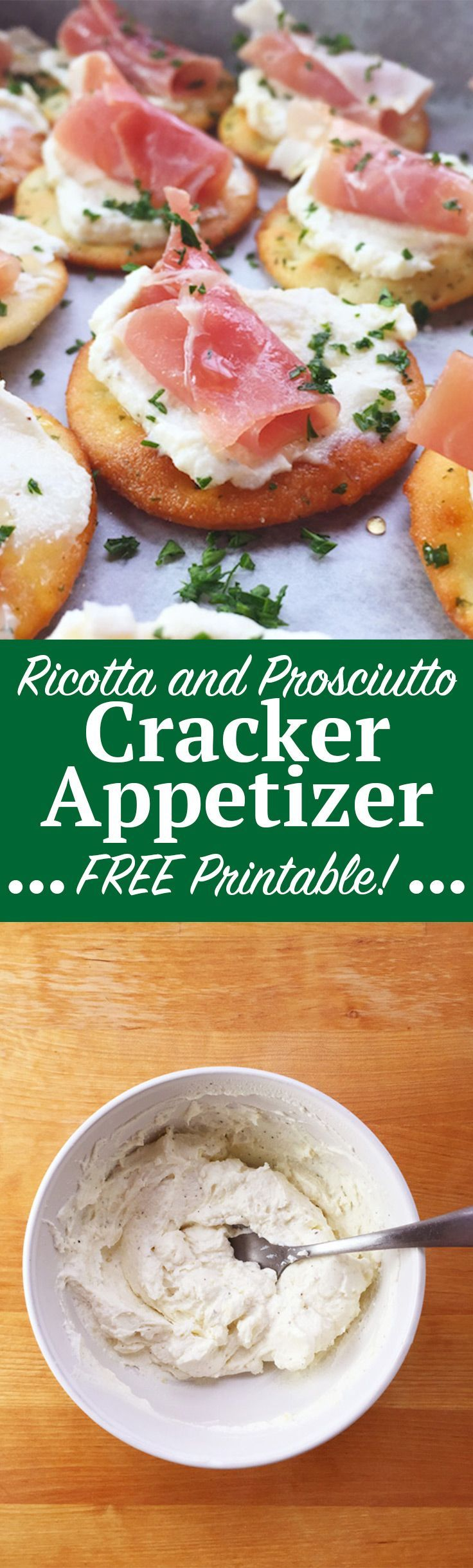 Ricotta and Prosciutto Cracker Appetizer recipe, perfect for your next holiday party! This is a no-bake recipe that costs under $10 and takes less than 20 minutes to make. Wow holiday party goers with creamy ricotta, prosciutto and a light honey drizzle over every cracker. Click through for the full recipe and a FREE printable recipe and resource list! | http://SeasonlyCreations.com | @SeasonlyBlog #sponsored