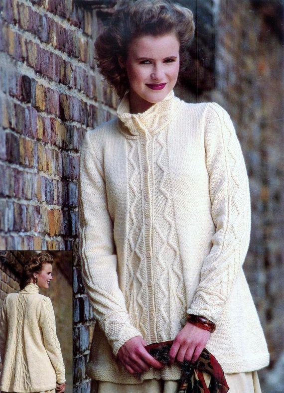 Ladies Aran Fishermans Sweater Jacket In Dk 8ply By