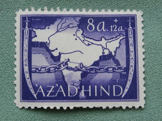 Purple Azadhind 8a 1943 India German Postage Azad Hind Indian Germany Cinderella stamp.  Purple with map.