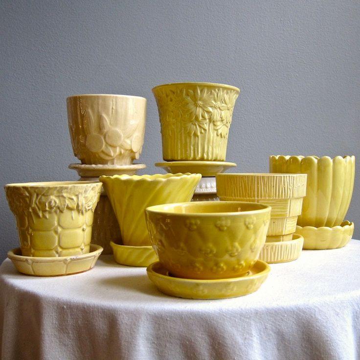Vintage McCoy Pottery Flower Pot -- Pale Yellow Circles and Leaves Medium Size Planter. $22.00, via Etsy.