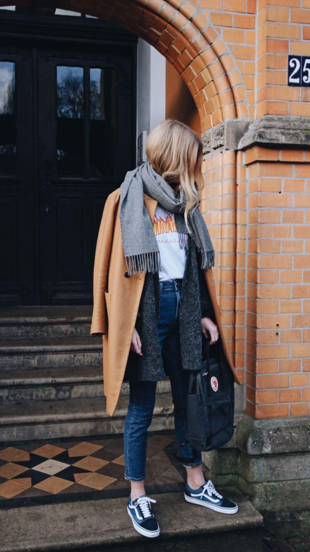 Instagram @euphoria_the, ootd, Outfit of the day, camel coat, acne canada scarf, Acne Studios, fjallraven, fjallraven kanken, mom Jeans, momjeans, Vans Old skool