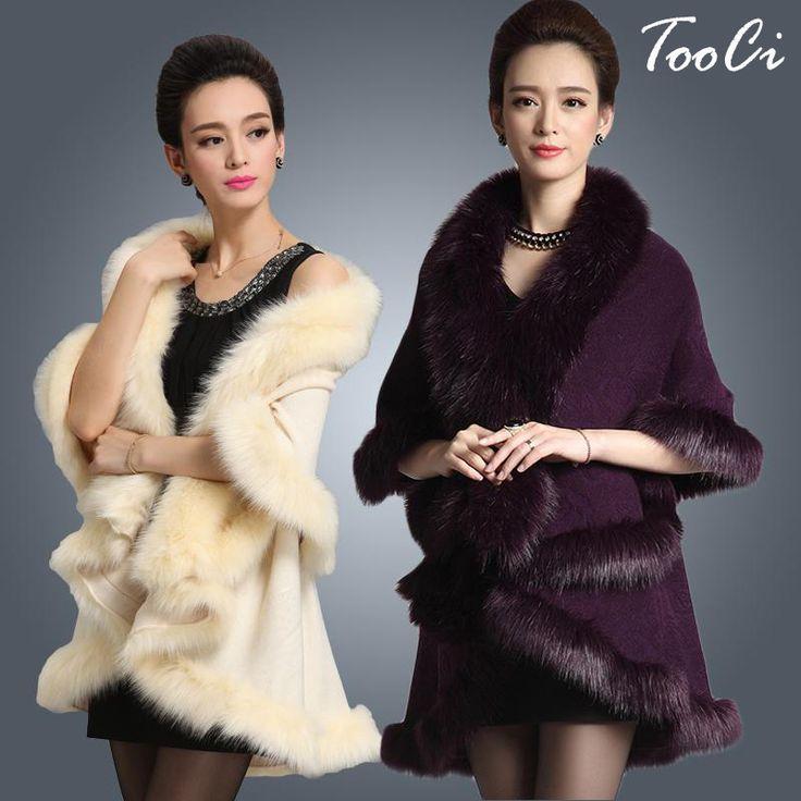 แฟชั่นใหม่ยาวผ้าขนสัตว์แคชเมียร์F Auxฟ็อกซ์ขนเสื้อคาร์ดิแกนผู้หญิงP Onchoถักเสื้อกันหนาวผู้หญิงผ้าพันคอ