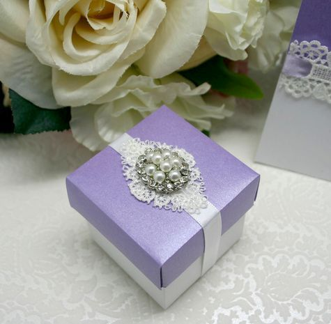 Favour Box - Embellished with plain lace crochet LC604 & pearl flat back cluster MCL23.  www.embellishmentgallery.com.au