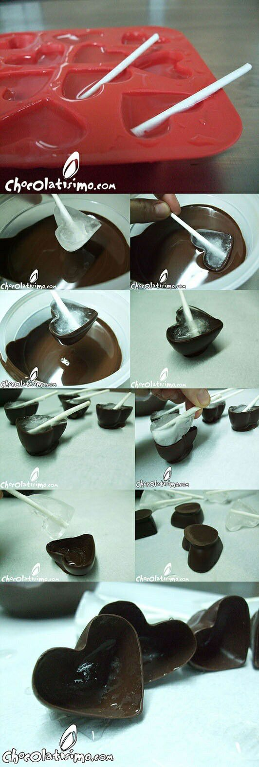 Kleine Herzschälchen aus Schokolade.