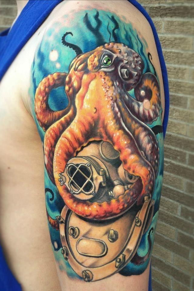 Divers Helmet and Octopus Tattoo - Karl Berringer - http://inkchill.com/divers-helmet-octopus-tattoo/